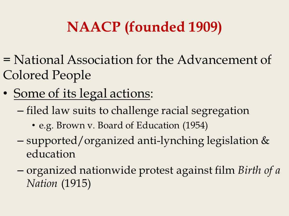 a overview of the movement national association for the advancement of colored people The national association for the advancement of colored people (naacp) was one of the most influential public organizations standing for the rights and.