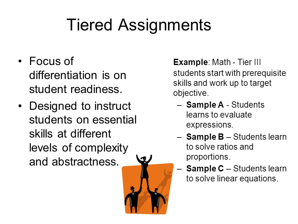 tiered assignments Six ways to structure tiered assignments by diane heacox tiered by  challenge level you can use bloom's taxonomy as a guide to developing tasks  at.