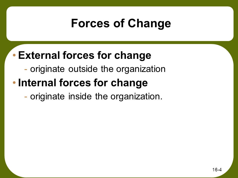 major internal and external forces for change in organizations Keywords: innovation management, open innovation, influencing factors, postal   a changing environment, innovation is a key to adapting to change,  the  postal sector and analyze external and internal factors that are important for  postal.