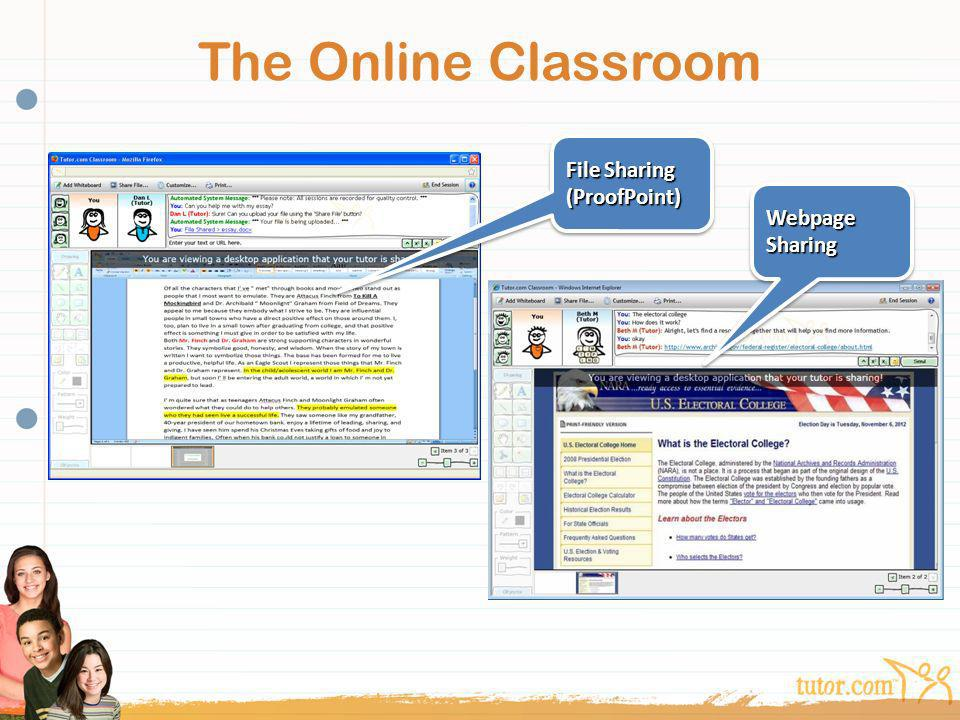 The Online Classroom File Sharing (ProofPoint) Webpage Sharing