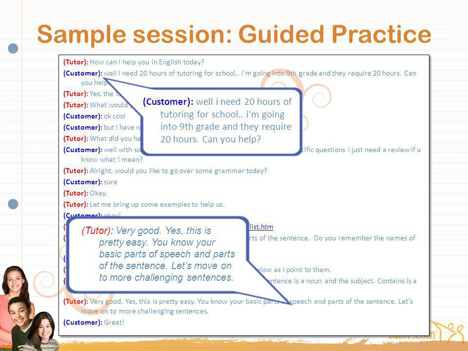 Sample session: Guided Practice