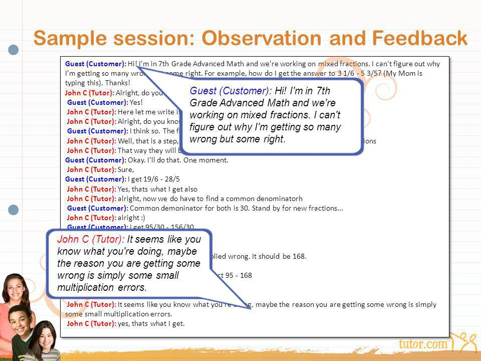 Sample session: Observation and Feedback