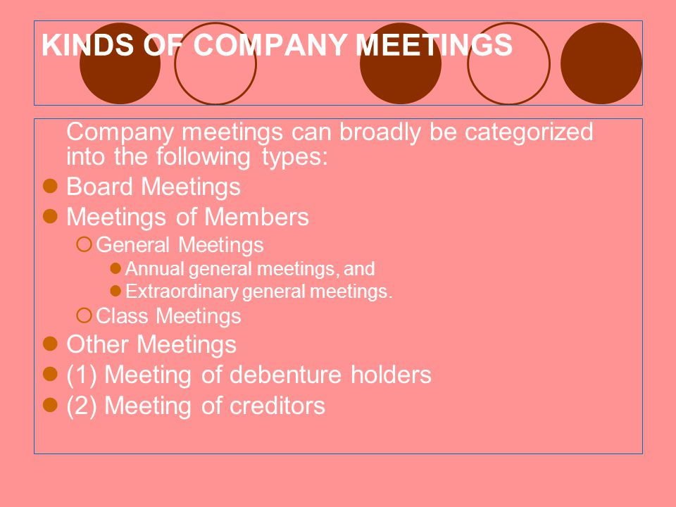 KINDS OF COMPANY MEETINGS