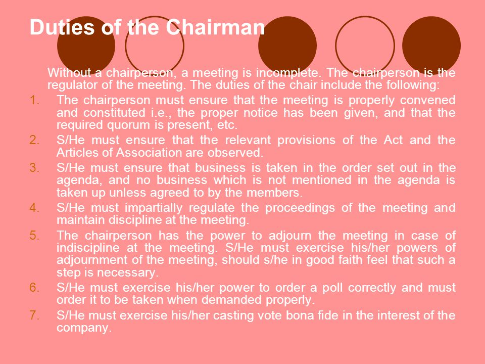 Duties of the Chairman