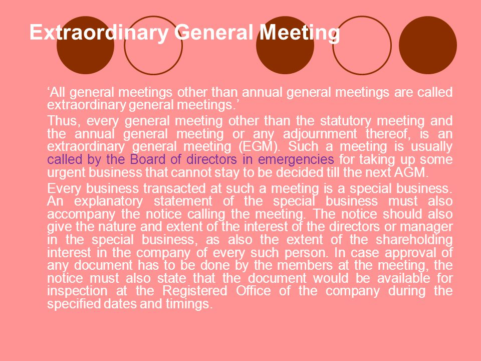 Extraordinary General Meeting