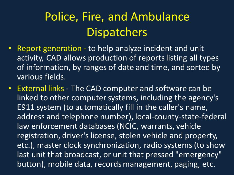 what is a cad incident report