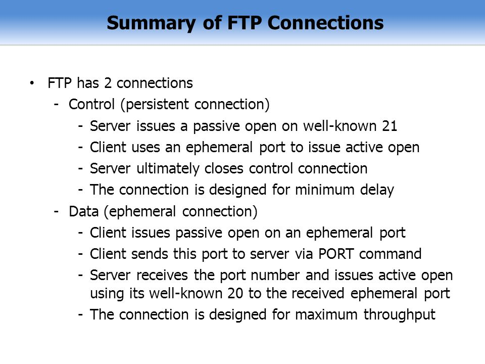 Summary of FTP Connections