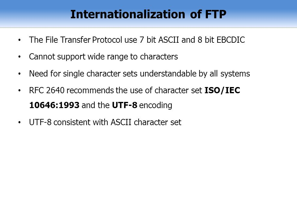 Internationalization of FTP