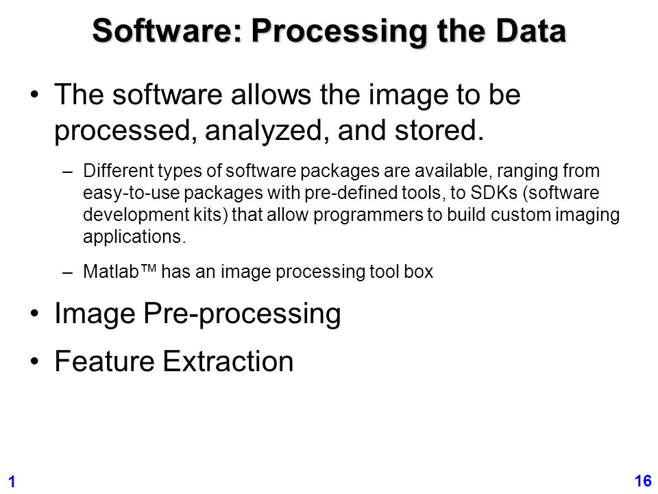 Software: Processing the Data
