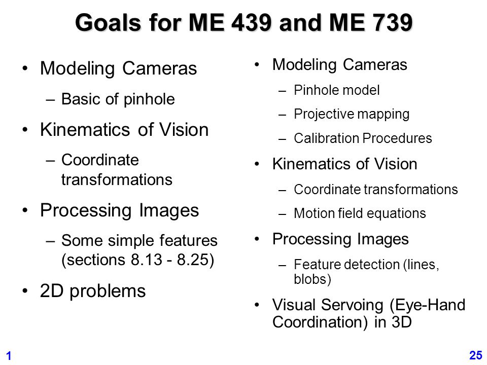 Goals for ME 439 and ME 739 Modeling Cameras Kinematics of Vision