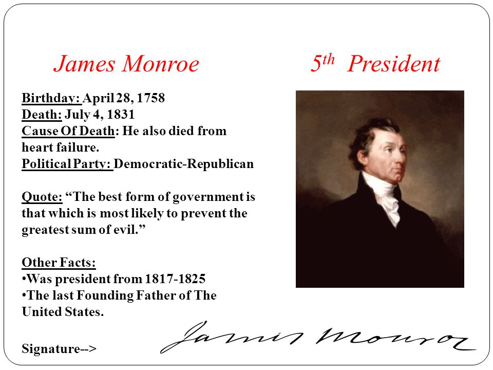 a biography of james monroe a president of the united states James monroe (april 28, 1758 – july 4, 1831) was the 5th president of the united states of.