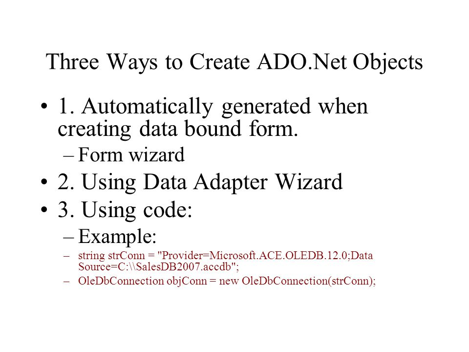 Introduction to ADO.Net and Visual Studio Database Tools - ppt ...