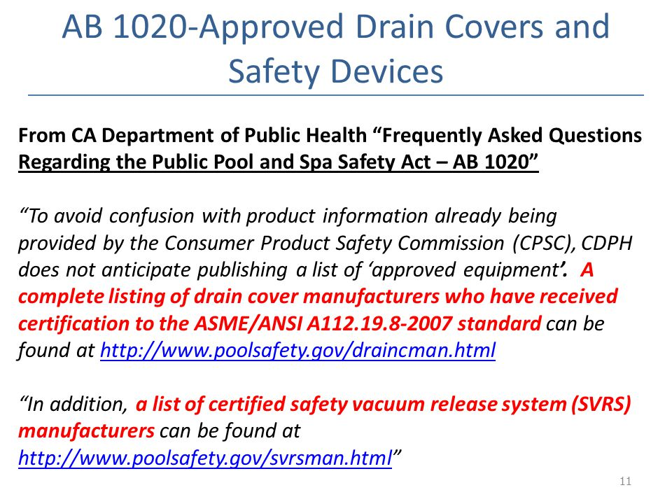 AB 1020-Approved Drain Covers and Safety Devices