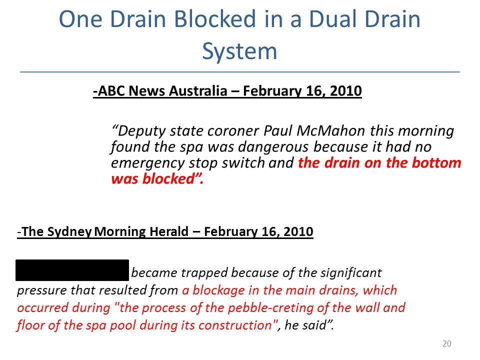 One Drain Blocked in a Dual Drain System