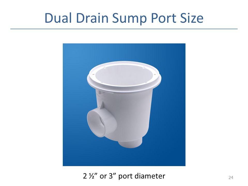 Dual Drain Sump Port Size