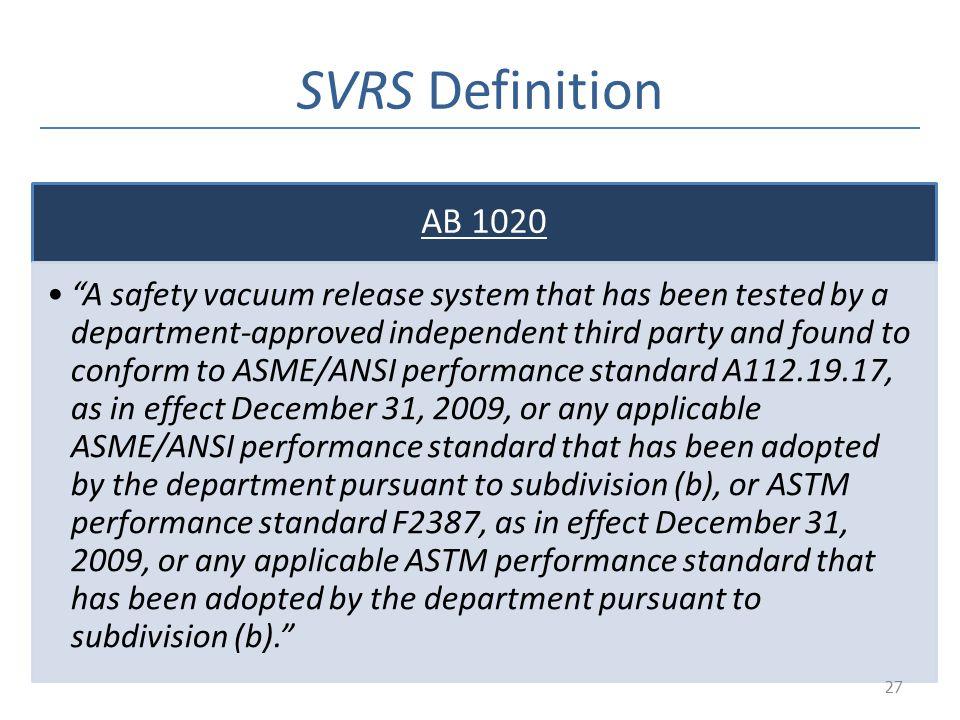 SVRS Definition AB 1020.