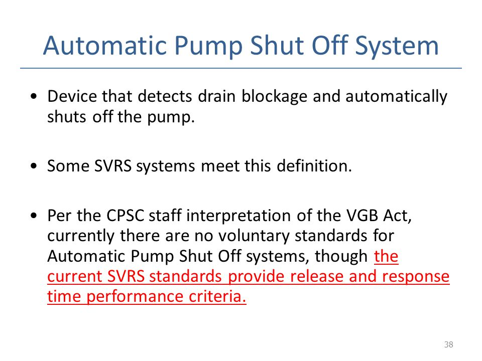 Automatic Pump Shut Off System