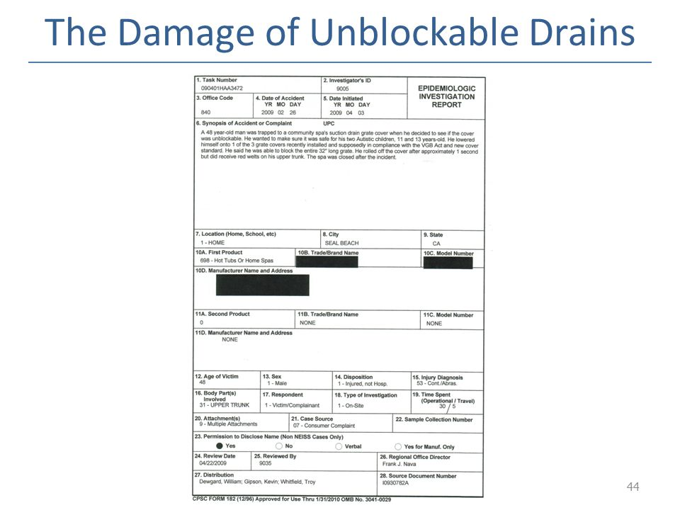 The Damage of Unblockable Drains
