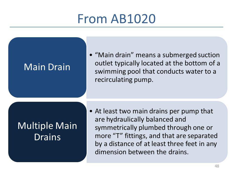 From AB1020 Multiple Main Drains Main Drain