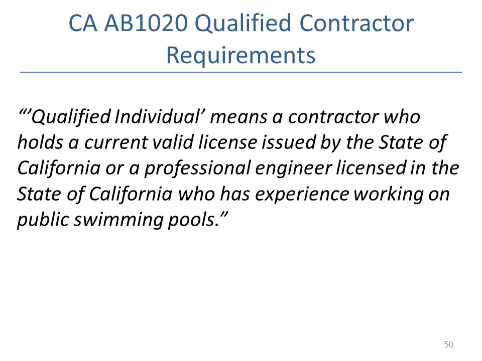 CA AB1020 Qualified Contractor Requirements