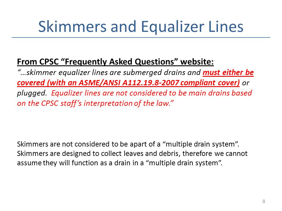 Skimmers and Equalizer Lines