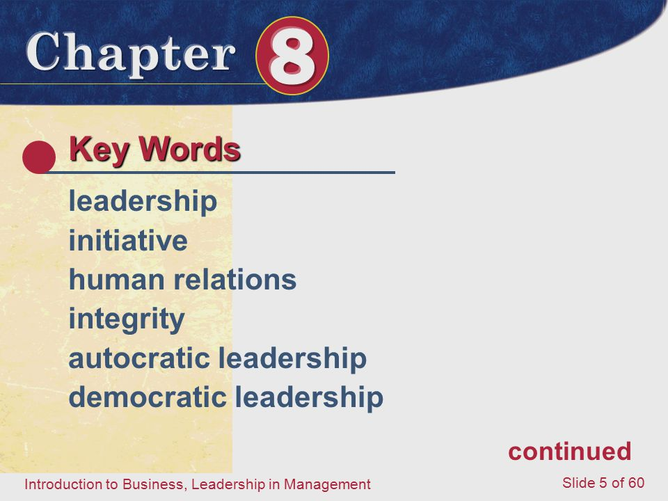 Key Words leadership initiative human relations integrity
