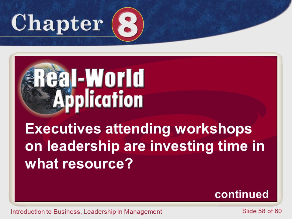 Executives attending workshops on leadership are investing time in what resource