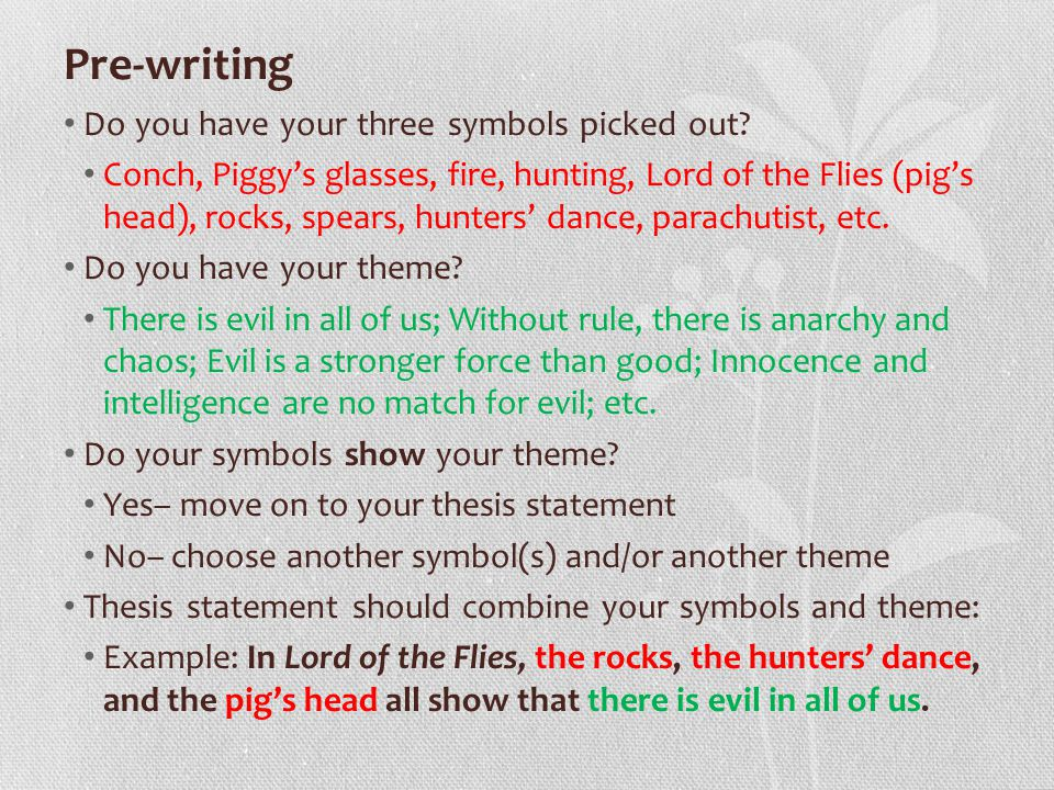 lord of the flies symbolism essay ppt  2 pre writing