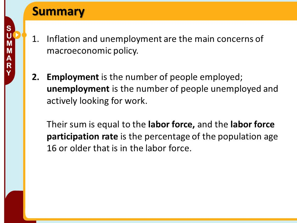 Summary Inflation and unemployment are the main concerns of macroeconomic policy.