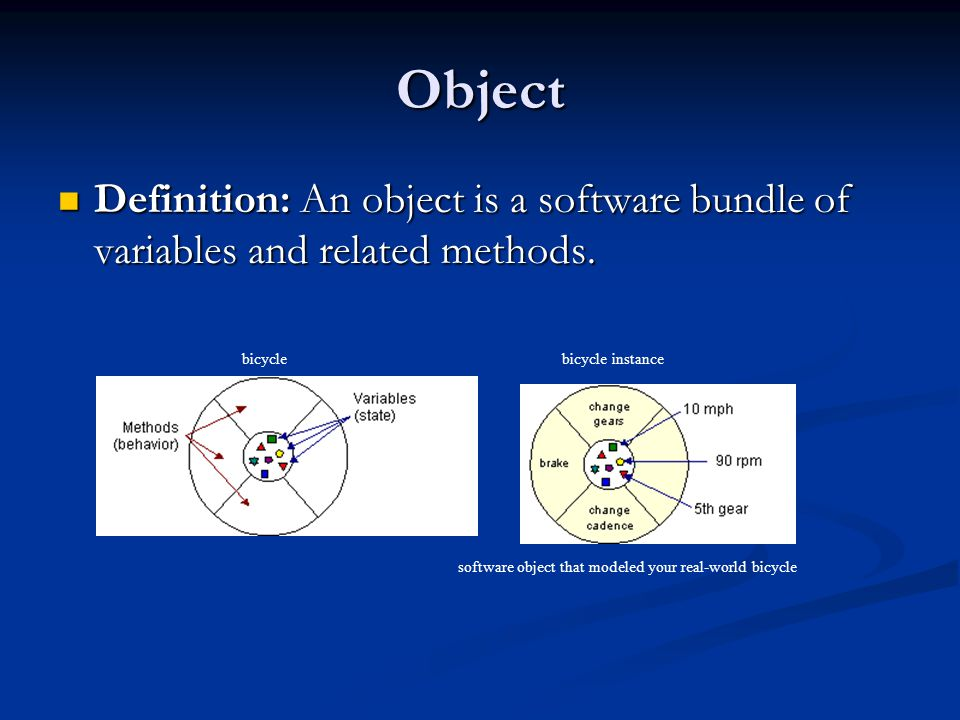 Object Definition: An object is a software bundle of variables and related methods. bicycle. bicycle instance.