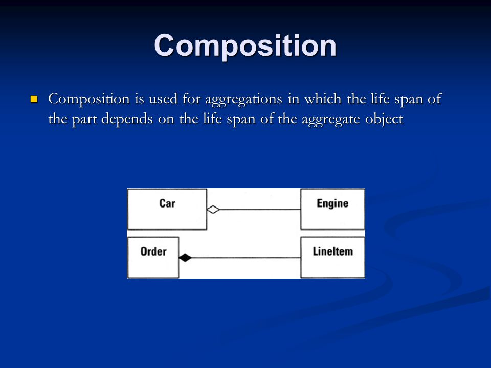 Composition Composition is used for aggregations in which the life span of the part depends on the life span of the aggregate object.