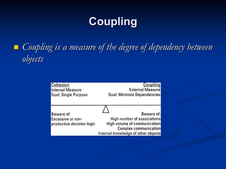 Coupling Coupling is a measure of the degree of dependency between objects