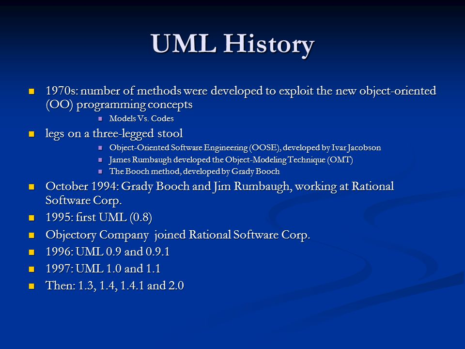 UML History 1970s: number of methods were developed to exploit the new object-oriented (OO) programming concepts.