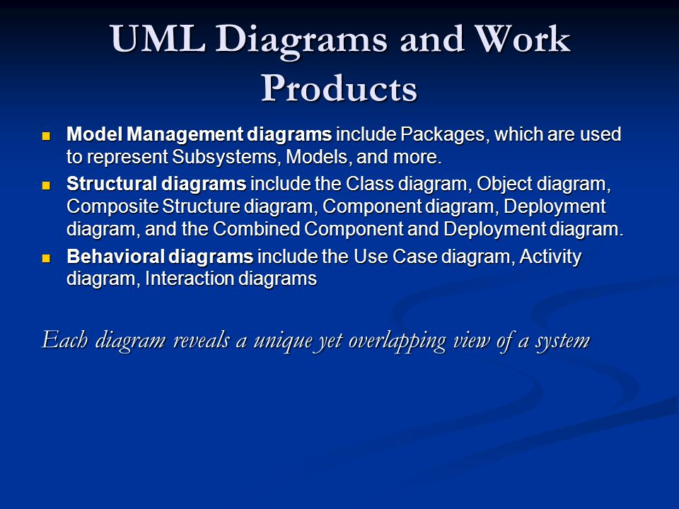 UML Diagrams and Work Products