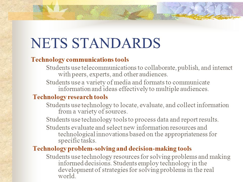 NETS STANDARDS Technology communications tools