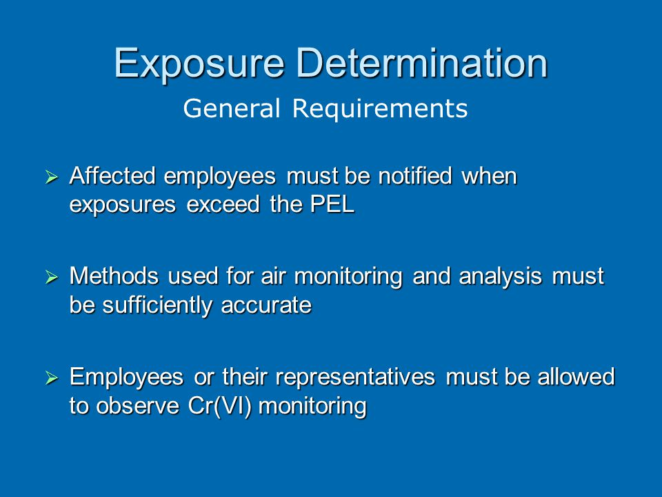 determination of chromium vi by direct Osha published a final rule for occupational exposure to hexavalent chromium (cr(vi)  (vi) standard via this direct  (vi)) notification of determination.