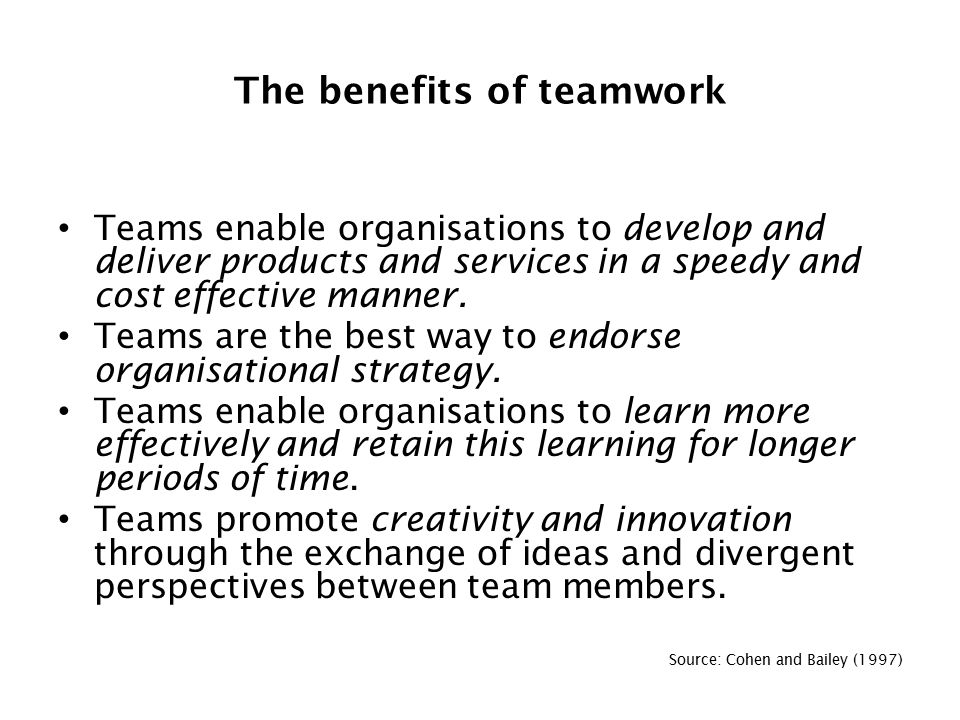 advantages and disadvantages of team working Advantages and disadvantages of teamwork name course lecturer date success of every institution is highly determined by how the staffs relate to each other while doing their day to day.
