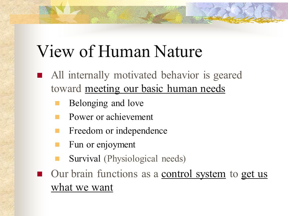 View Of Human Nature Of Reality Therapy
