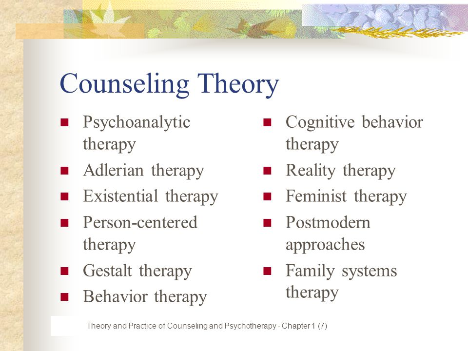 theories and methods in counseling The main purpose of counseling and therapy for addiction is to address the underlying causes of the disease to prevent them from causing relapse although detox is a vital component of treatment because it helps patients handle withdrawal and ease cravings, it does nothing to address the factors that led to drug abuse in the first place.