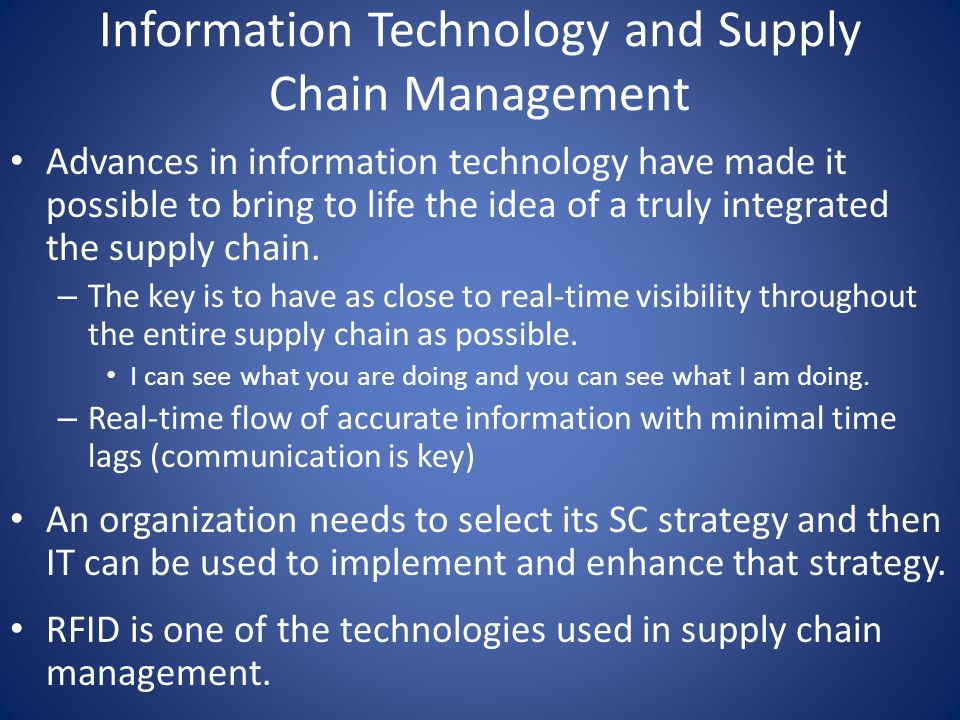 information technology in supply chain mgt Coordinator : li xu (lxu@oduedu) core faculty for information technology/ supply chain management the following professors work together to provide  the.