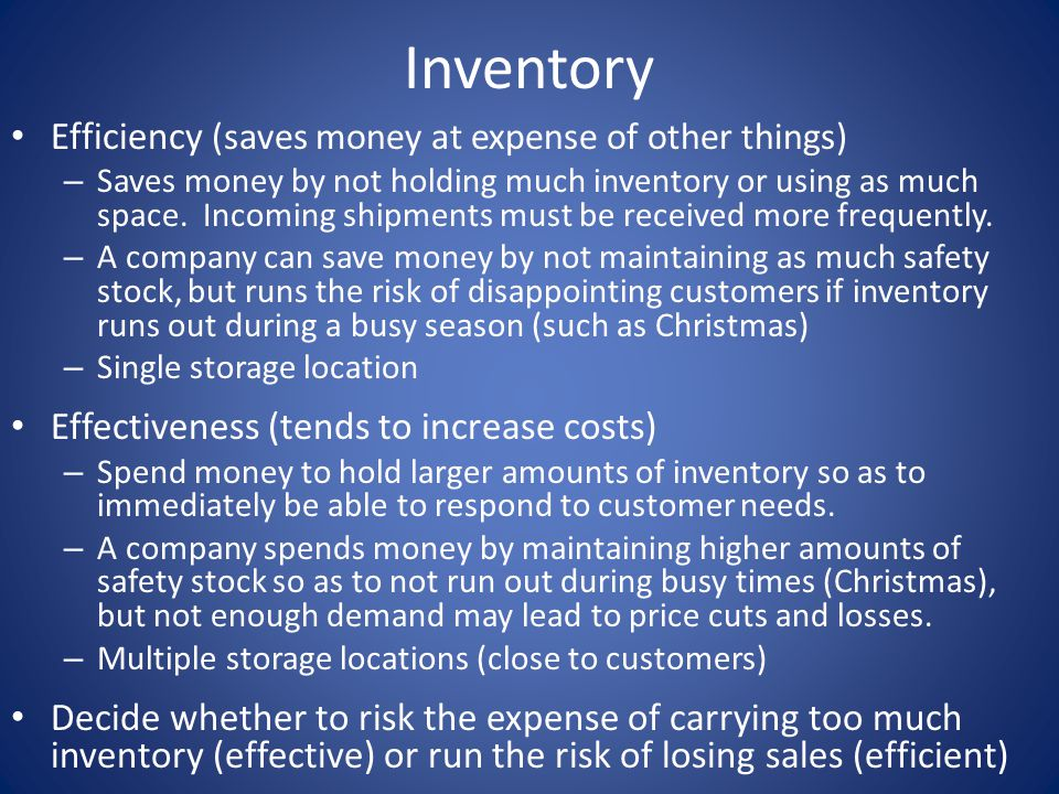 Inventory Efficiency (saves money at expense of other things)