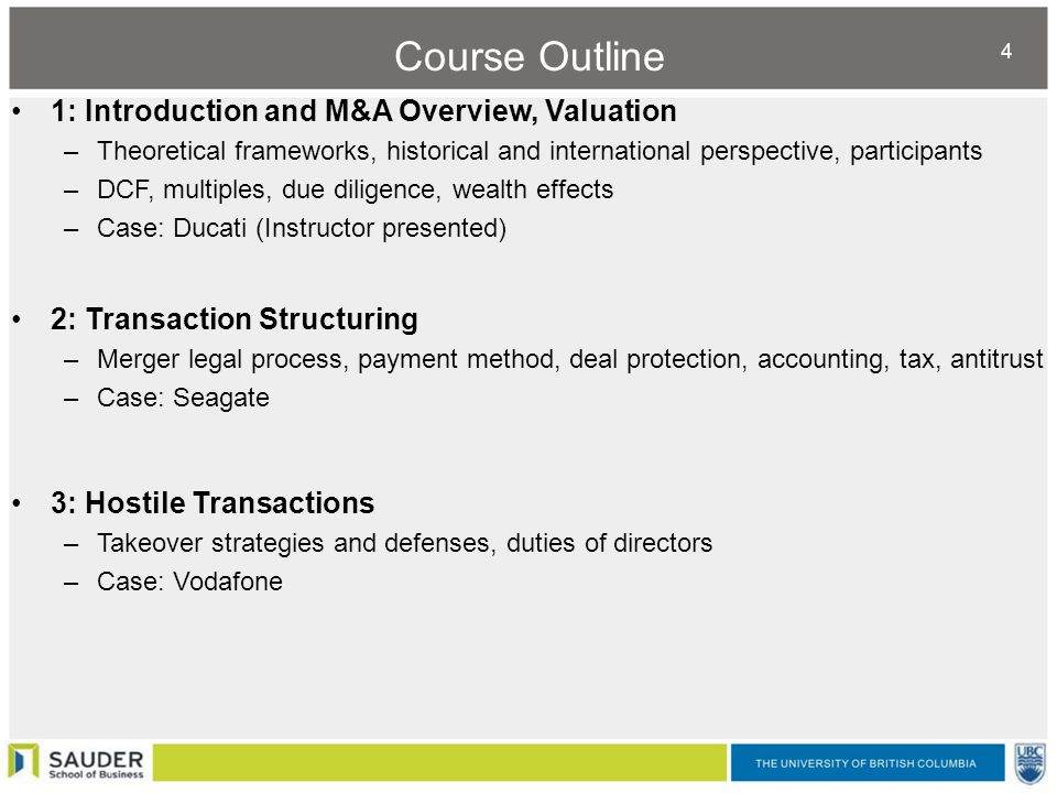 mergers and acquisition course outline This course presents the opportunity to analyze the mechanisms underlying the  creation (and destruction) of value in mergers, acquisitions and corporate.