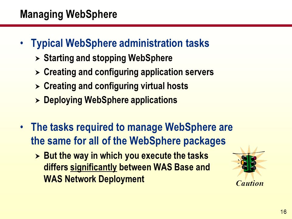 Typical WebSphere administration tasks