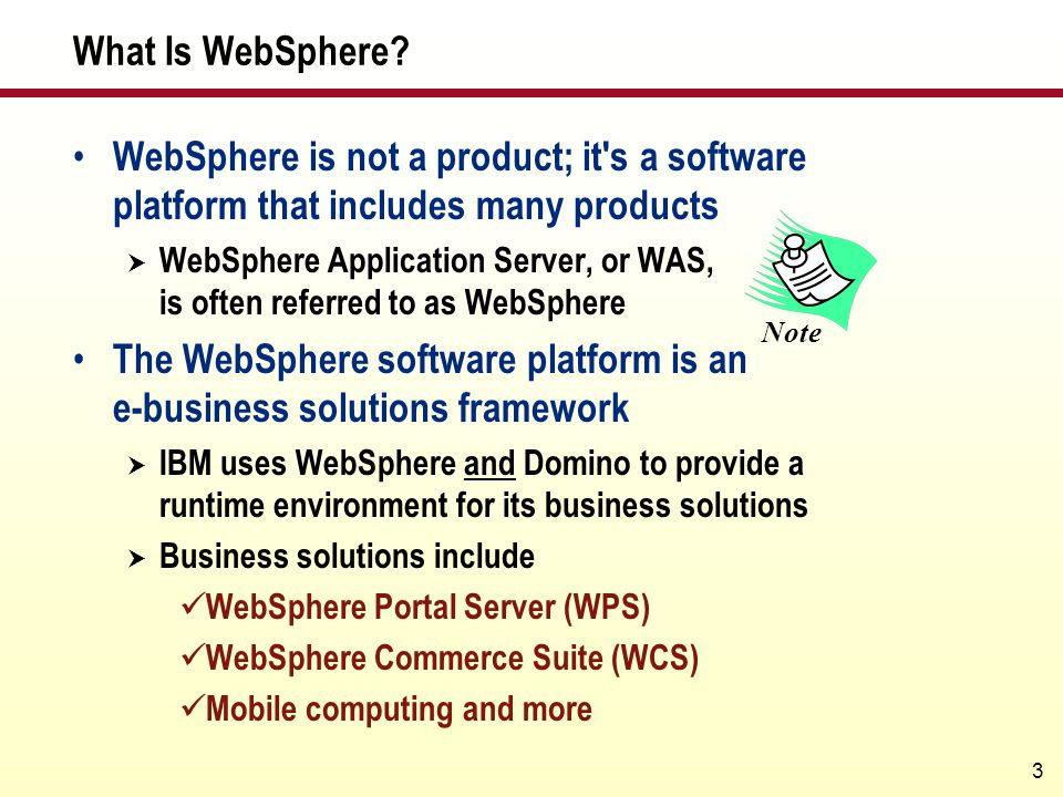The WebSphere software platform is an e-business solutions framework