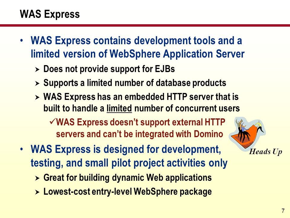 WAS Express WAS Express contains development tools and a limited version of WebSphere Application Server.
