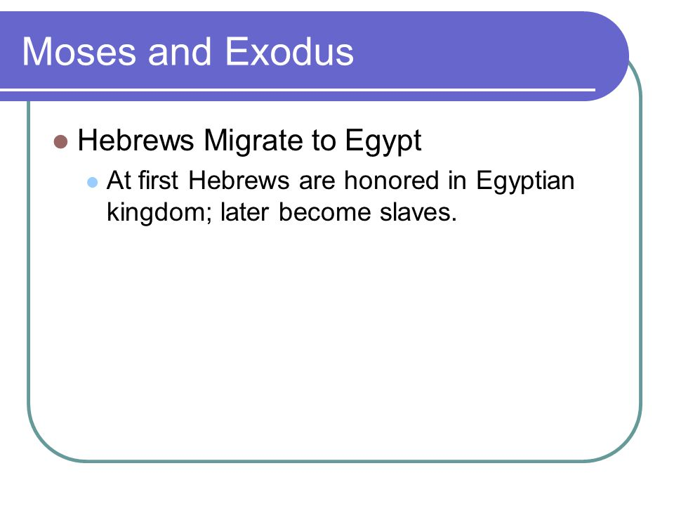 Moses and Exodus Hebrews Migrate to Egypt