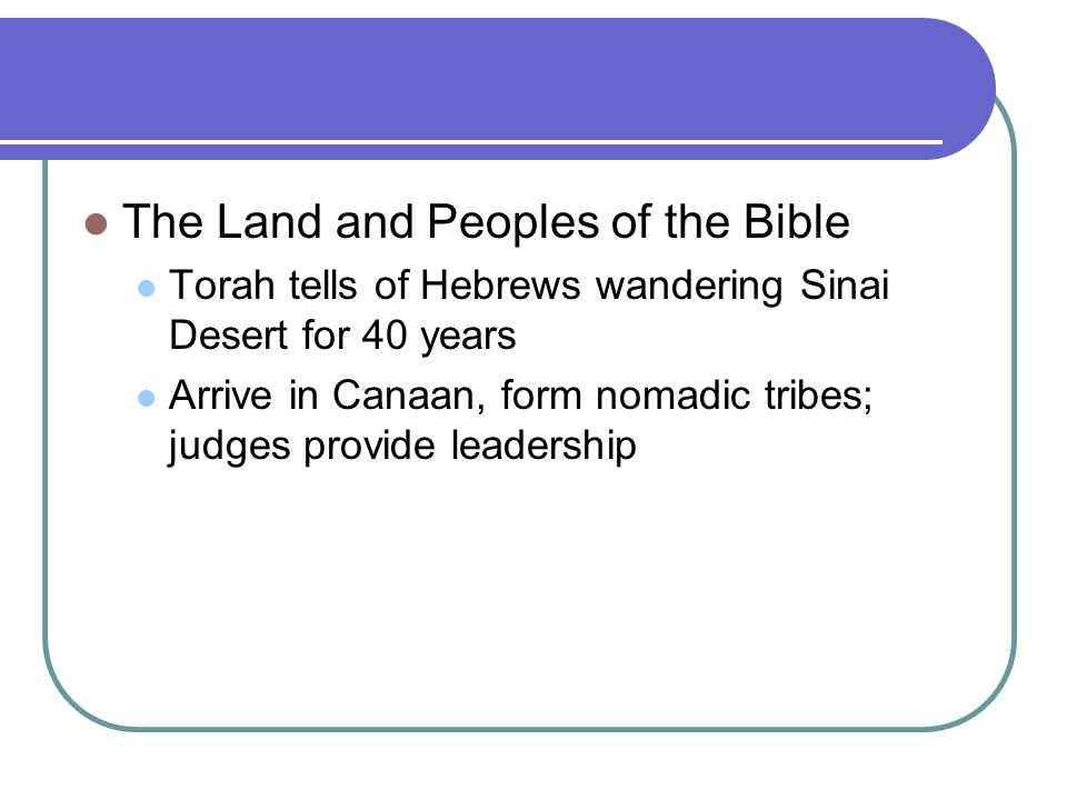The Land and Peoples of the Bible