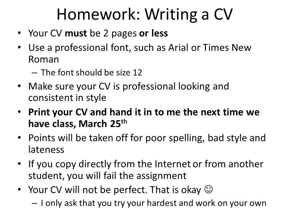 curriculum vitae font size
