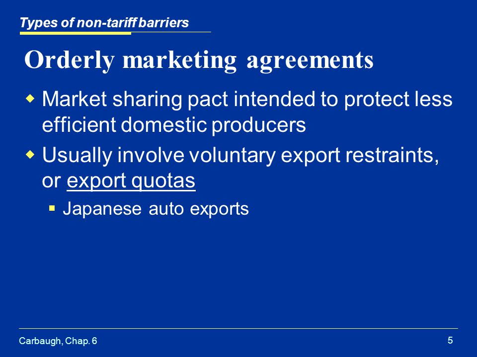 Types of non tariff barriers ppt video online download orderly marketing agreements platinumwayz