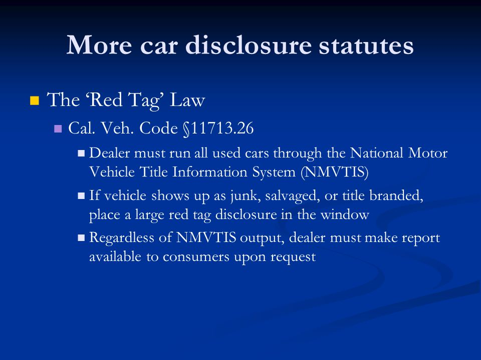 Introduction to consumer law ppt download for The national motor vehicle title information system